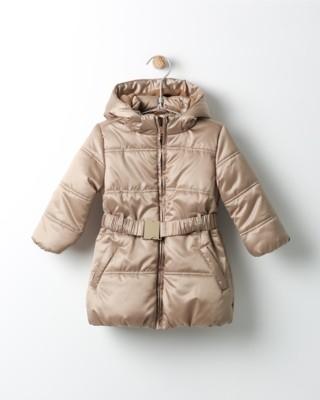 Zimní bunda Losan zlatá s kapucí a páskem